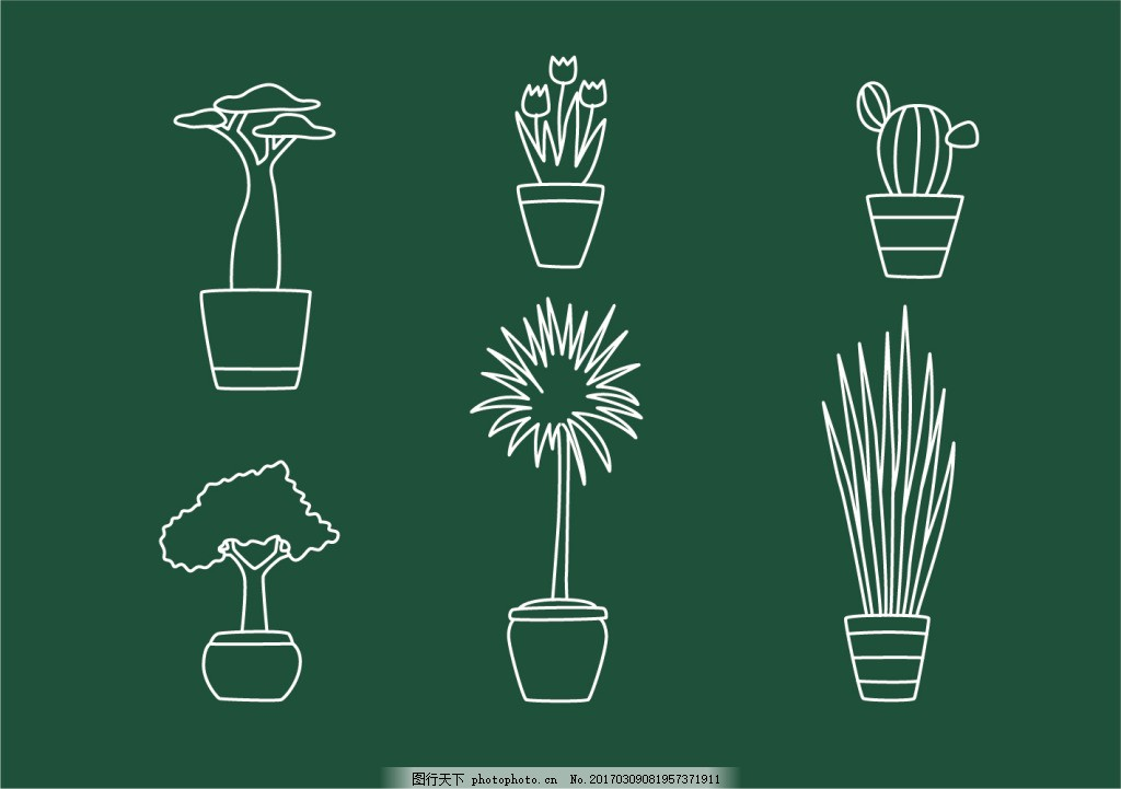 手绘盆栽植物 植物 树木 矢量素材 植物插画 手绘植物 叶子 树叶 植物