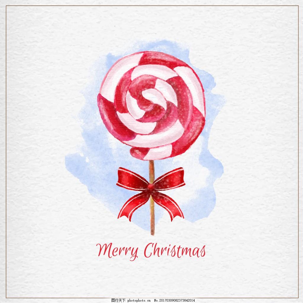 水彩画的圣诞棒棒糖