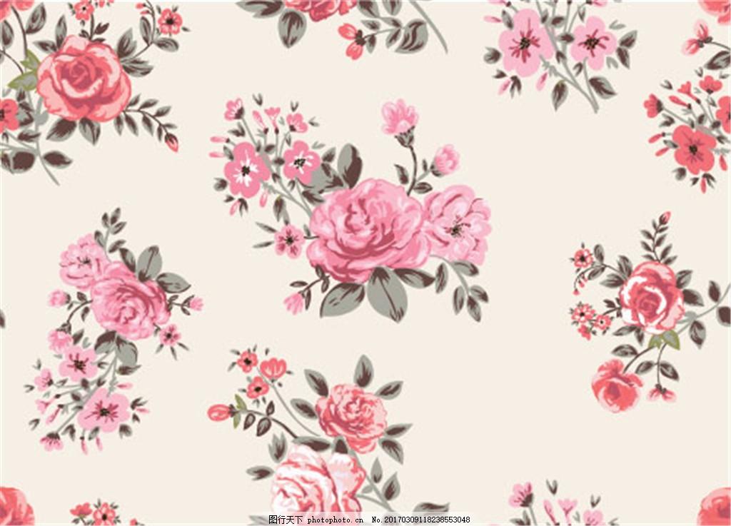 花卉背景 背景 背景素材 花卉 花卉花朵 手绘花卉 复古 复古花卉 玫瑰