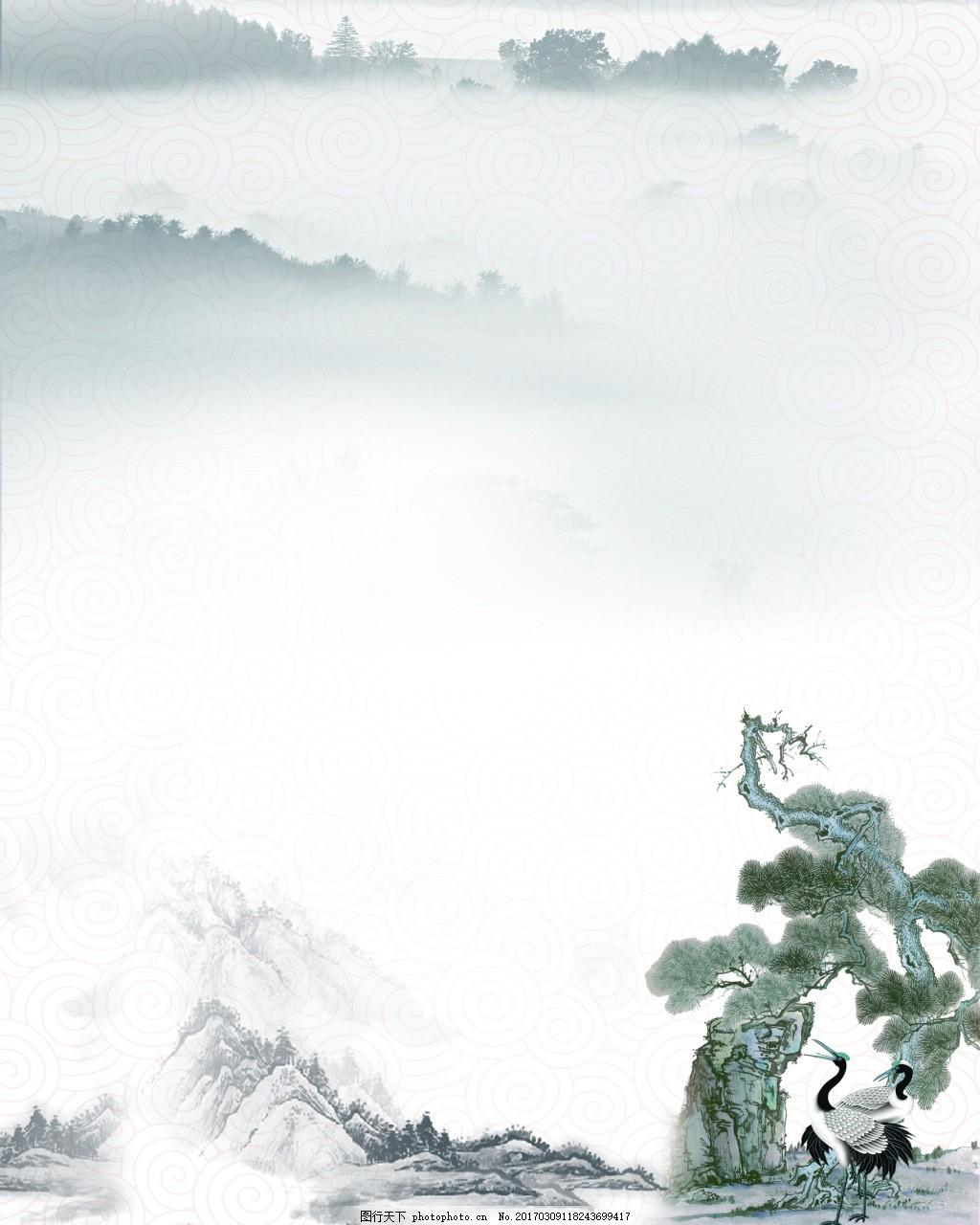 仙鹤松树背景图