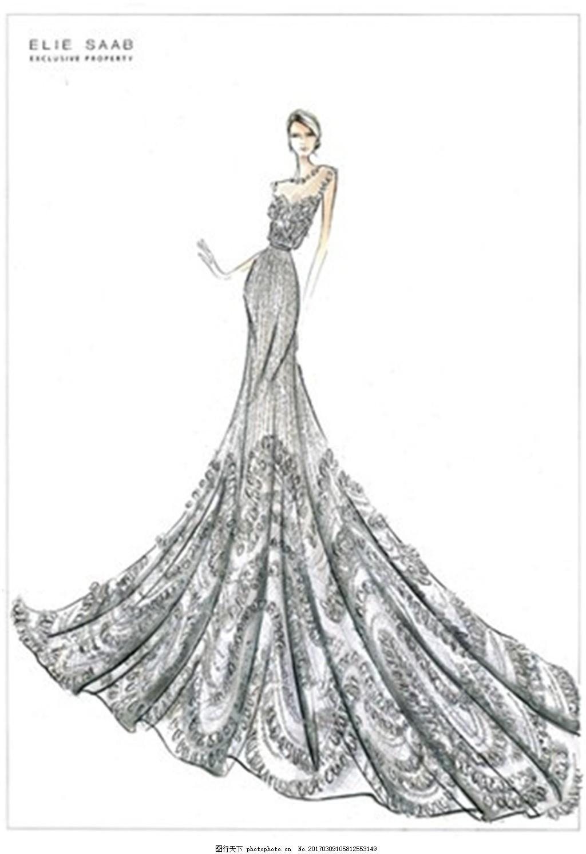 花纹长裙礼服设计图