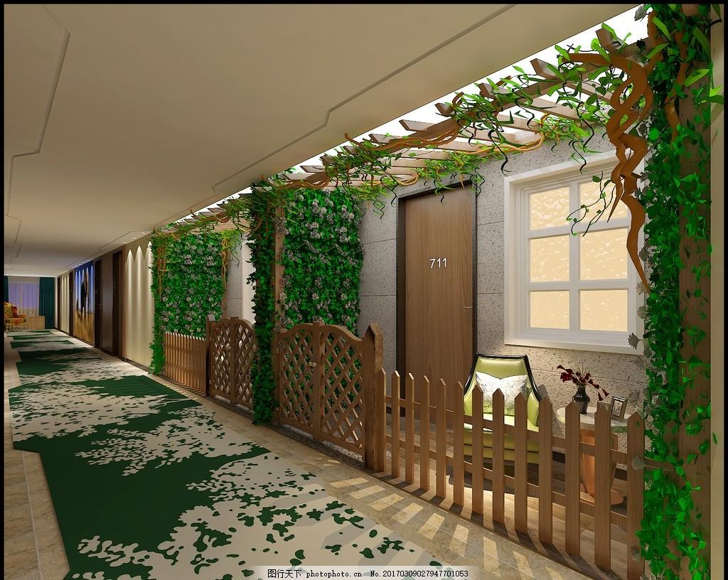 宾馆 酒店 走廊 过道 植物墙 休闲 设计 环境设计 室内设计 300dpi