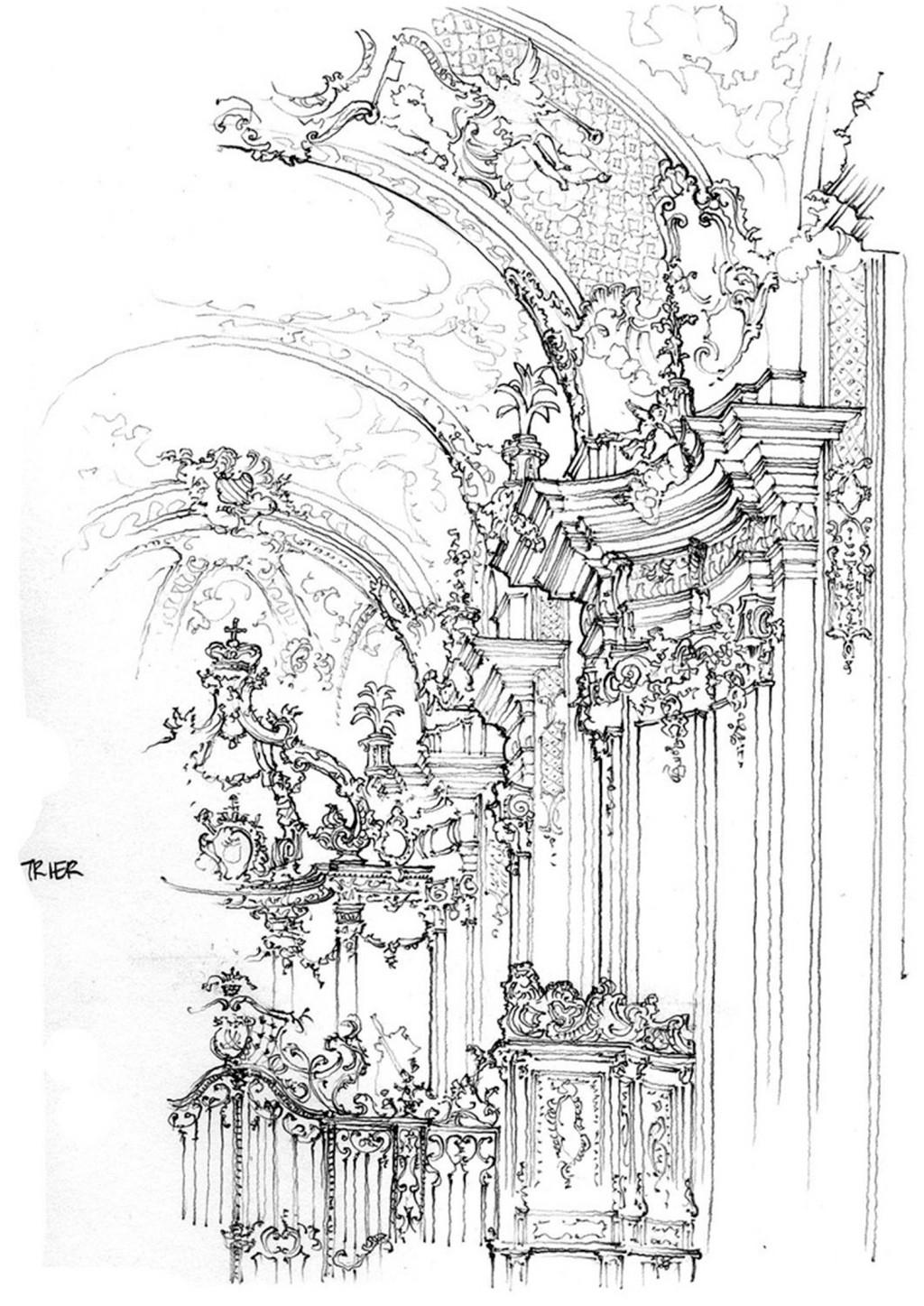 欧式豪华餐厅效果图 建筑平面图素材免费下载 手绘图 图纸 建筑 平面