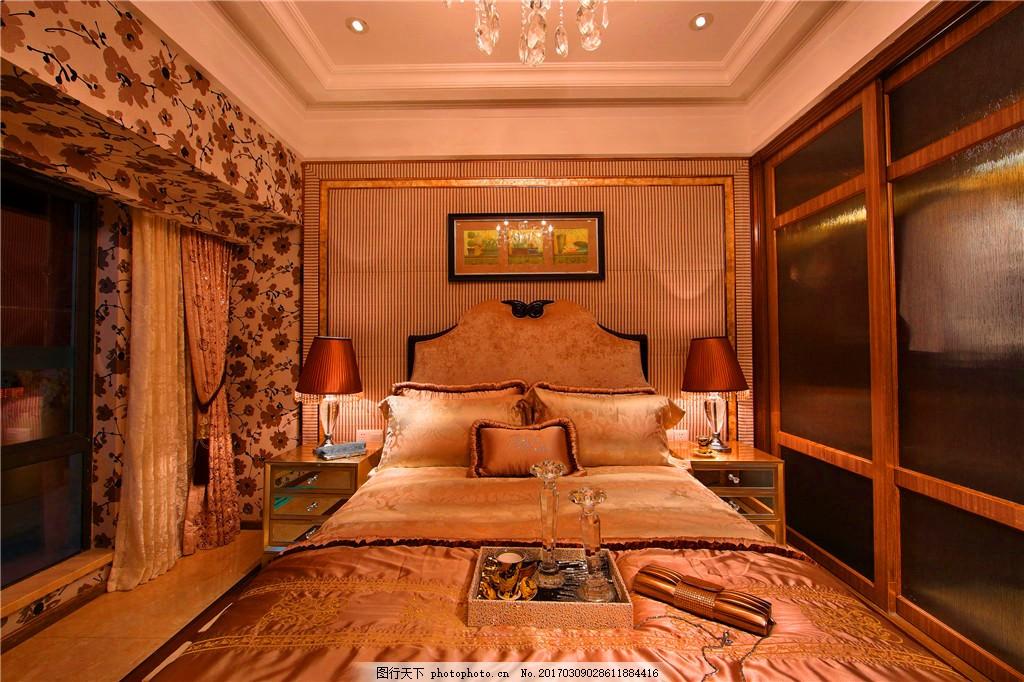 欧式卧室装修效果图 客房 欧式装修效果图 奢华 设计素材 时尚