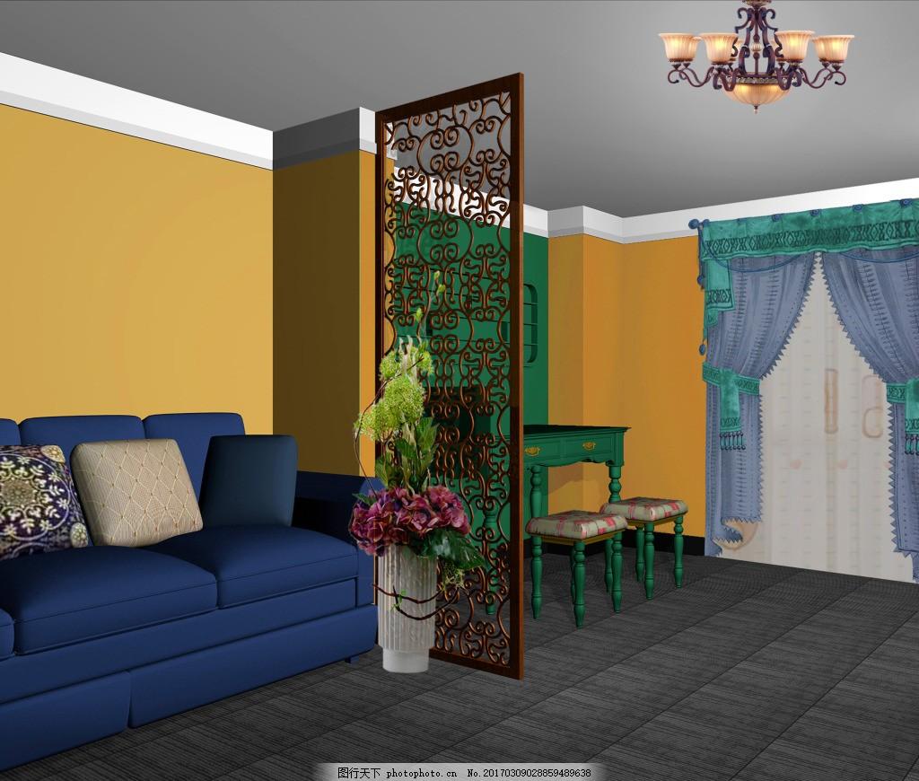 美甲台文件 室内 效果图 沙发 桌子 柜子 格栅 室内装饰 吊灯