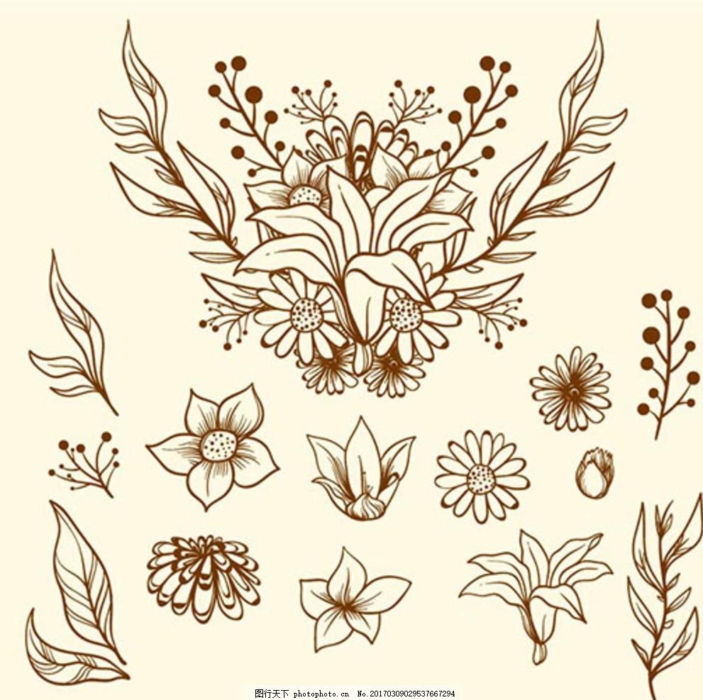 手绘线稿春季花卉元素 春暖花开 春季促销 春季促销海报 春季大促销