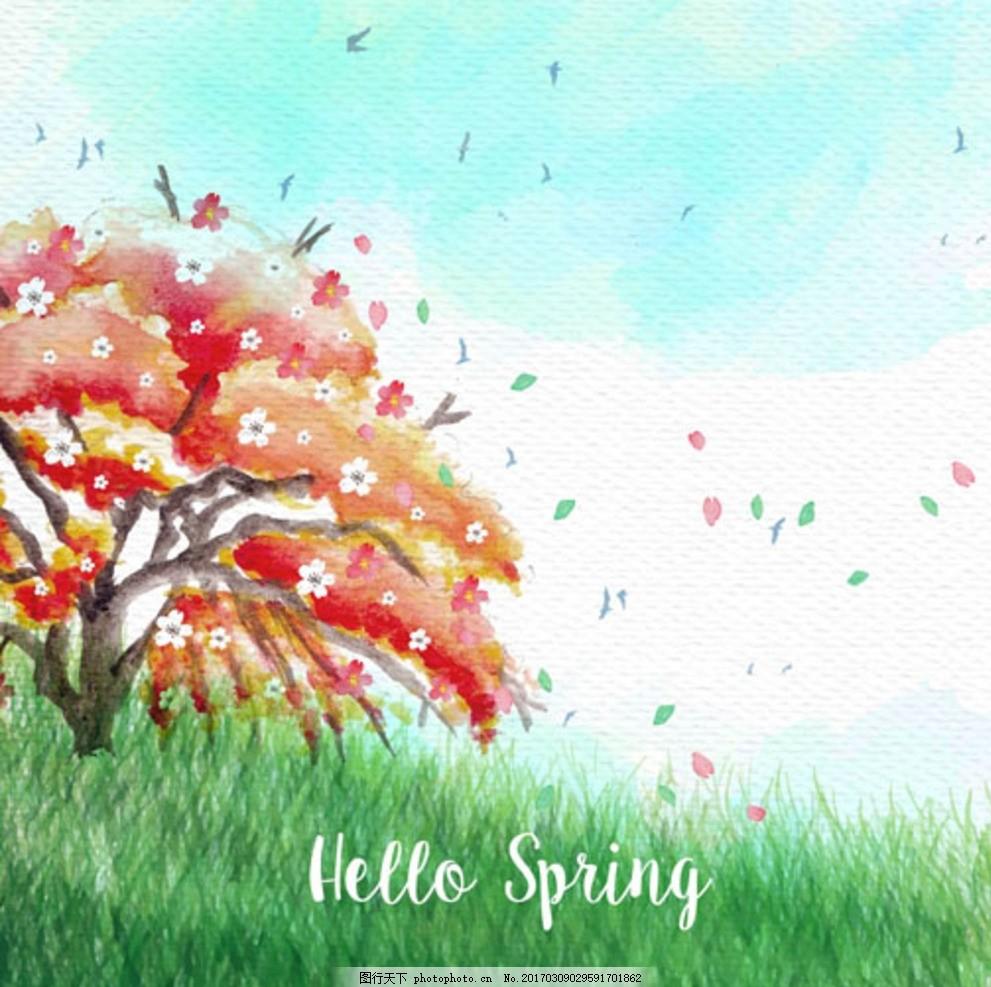手绘春季草地樱花树插图