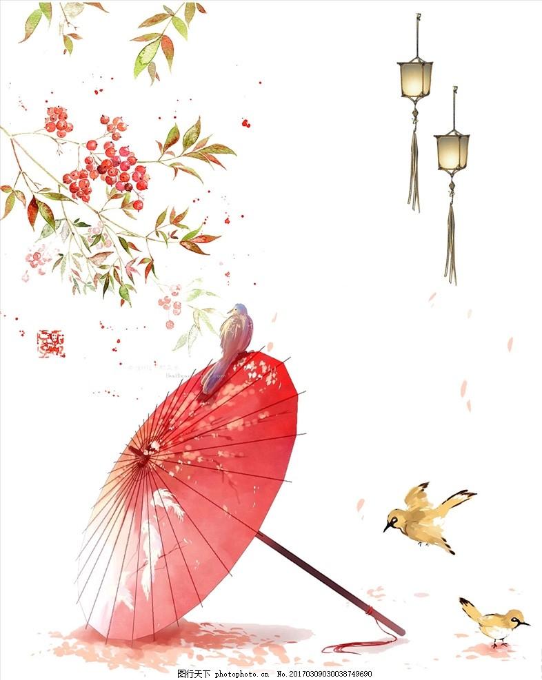 中国风促销海报 花伞 樱桃 红色 鸟 昆虫 设计 广告设计 海报设计 72