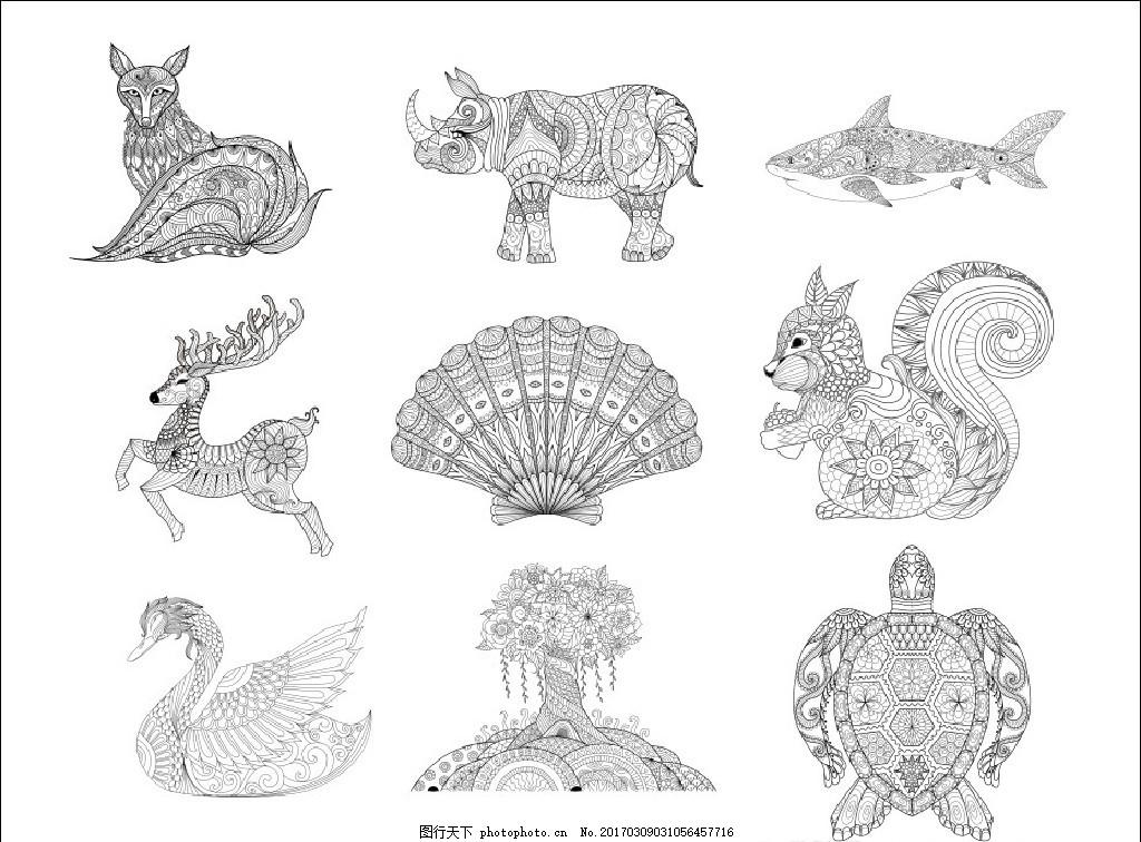 动物线条画 传统图案 矢量动物 传统动物 动物图腾 动物剪纸 吉祥动物
