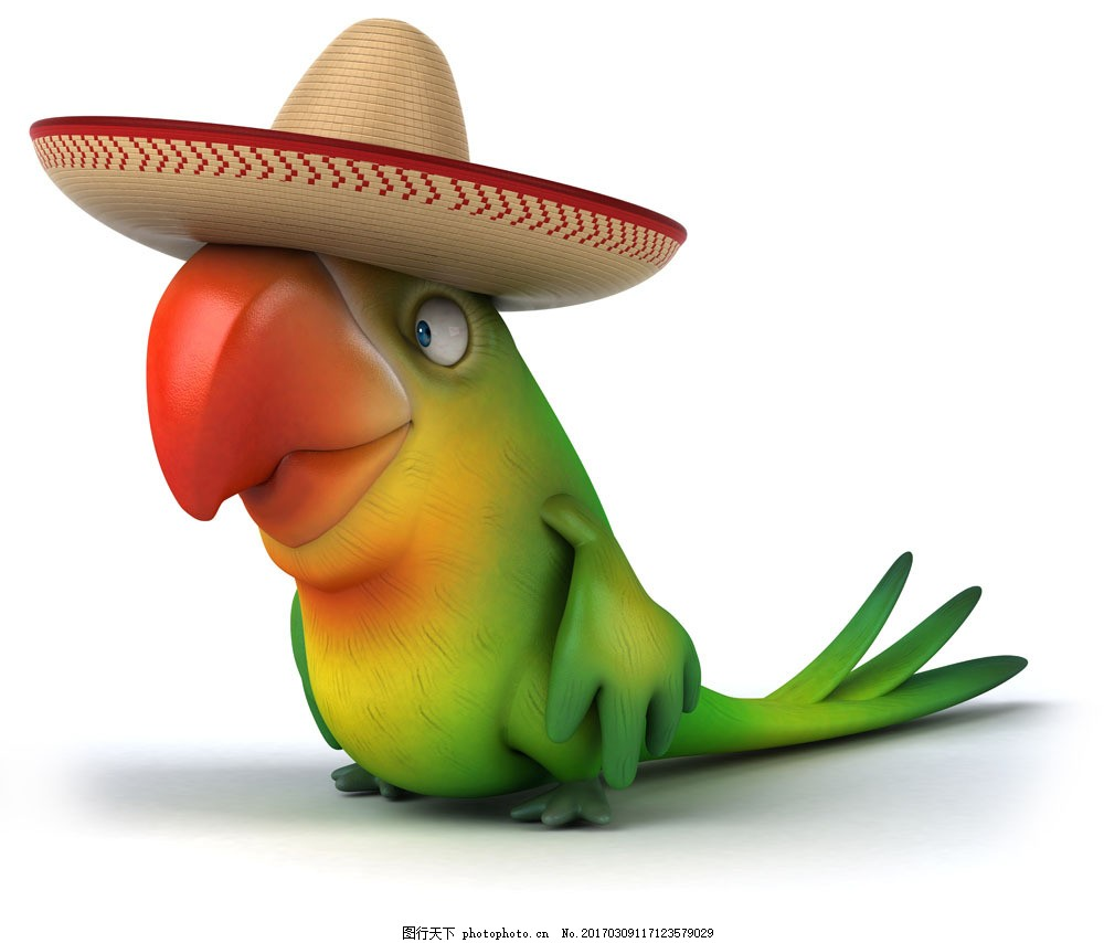 戴着帽子的鹦鹉 戴着帽子的鹦鹉图片素材 有趣的动物 卡通动物 其他类