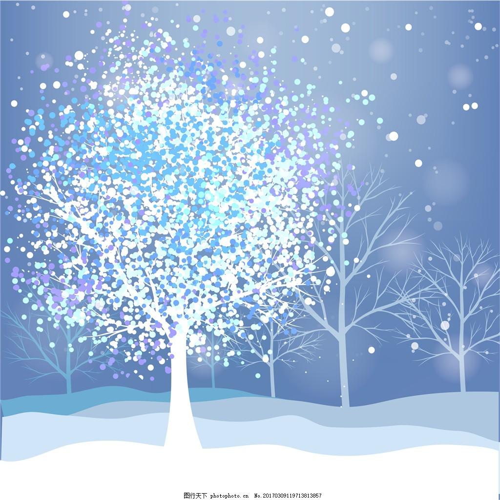 冬季雪景背景 冬季背景 冬天 下雪 树木 梦幻雪景 唯美