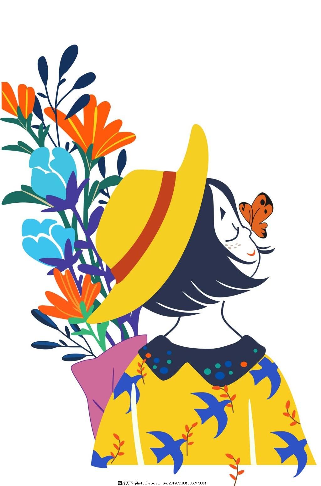可爱的女生 手绘 花朵 蝴蝶
