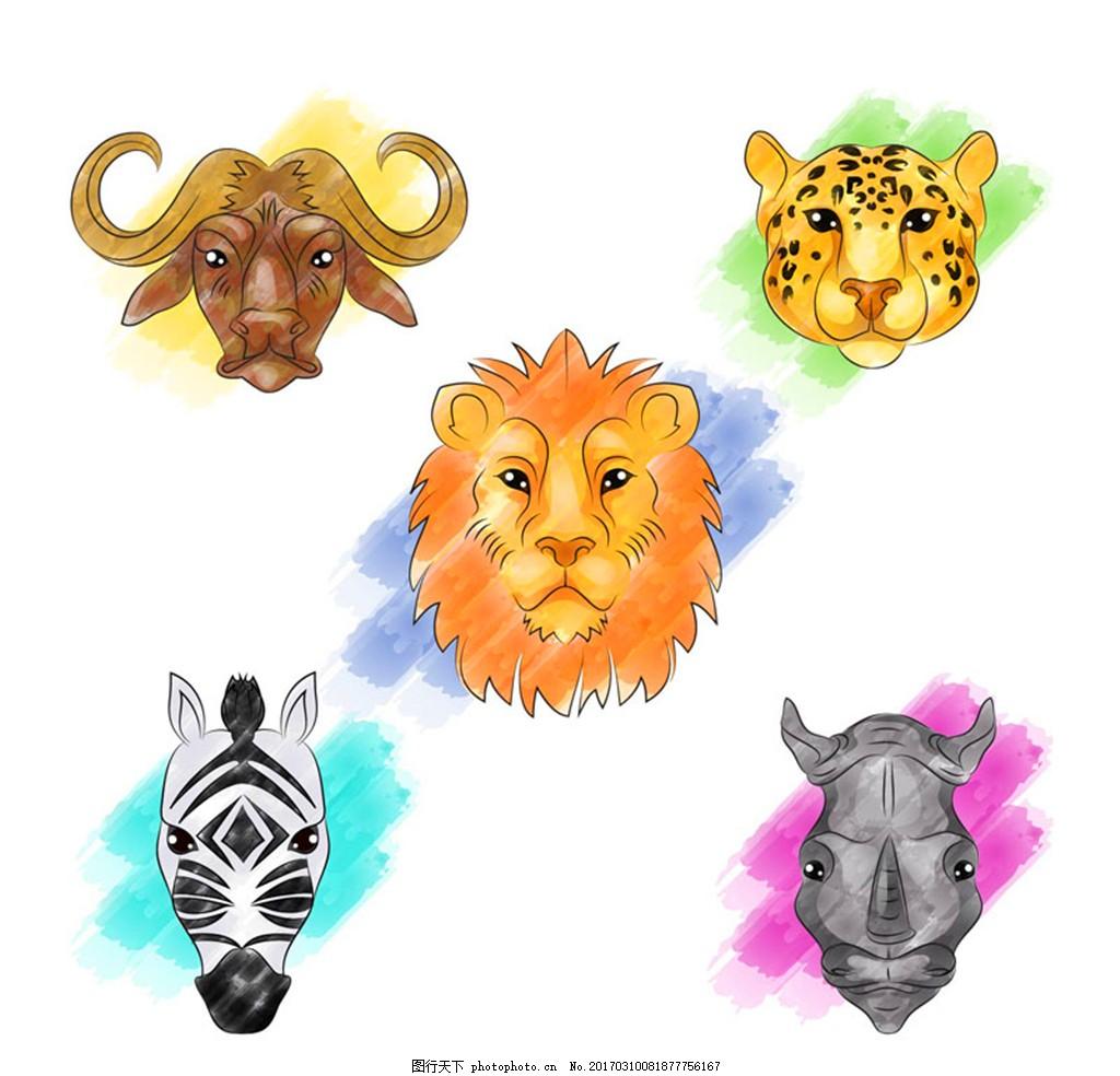 5款彩绘动物头像矢量素材 水牛 豹子 狮子 斑马 犀牛 彩绘 动物