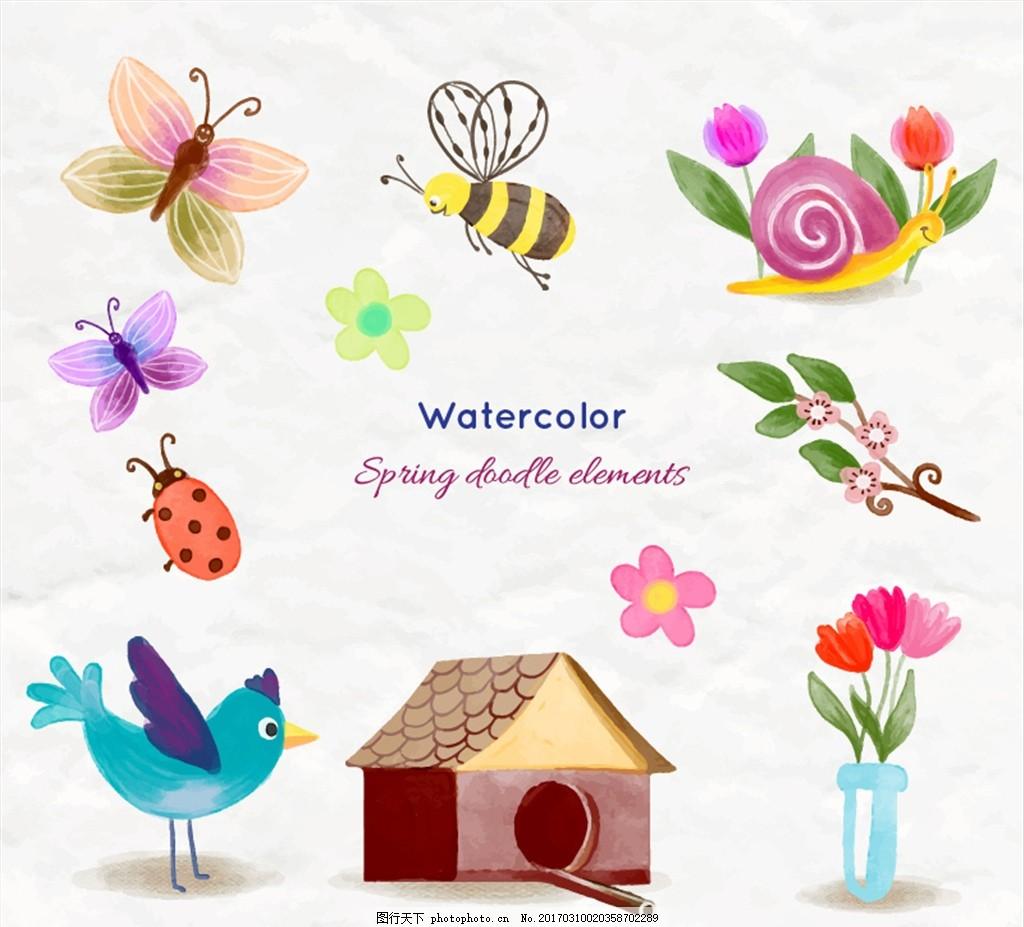 蝴蝶 蜜蜂 蜗牛 瓢虫 鸟 花 木屋 春季 水彩 设计 底纹边框 花边花纹