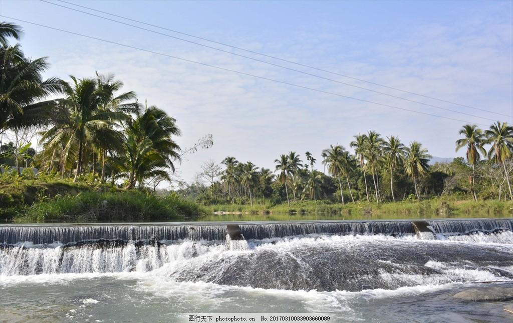 海南 河流 海南岛 蓝天 椰树 椰子树 摄影 旅游摄影 国内旅游 199dpi