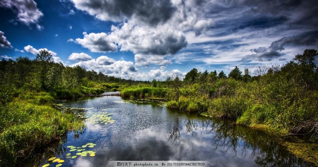 河流 天空 蓝天 云彩 植物 植被 石头 摄影 自然景观 山水风景 240dpi