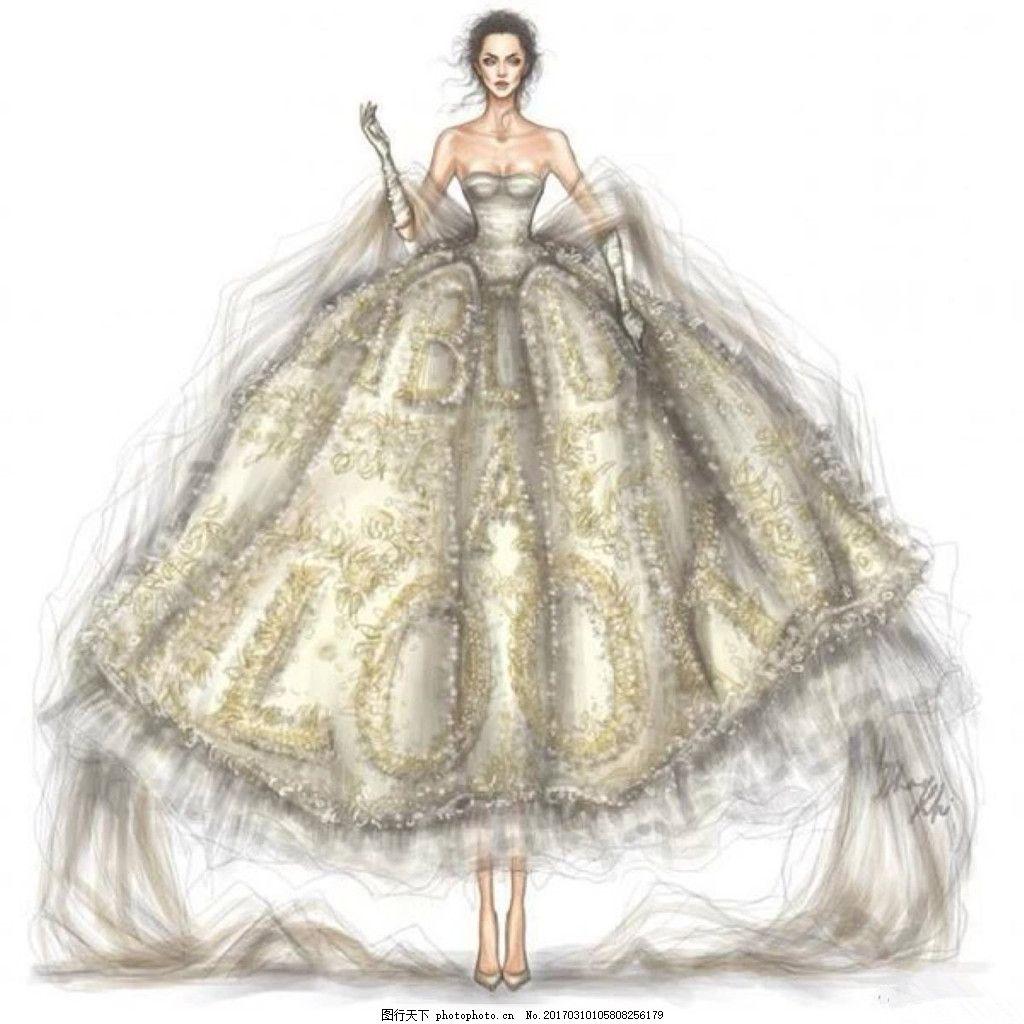 婚纱服装设计 欧式 大气 手绘 简约 现代