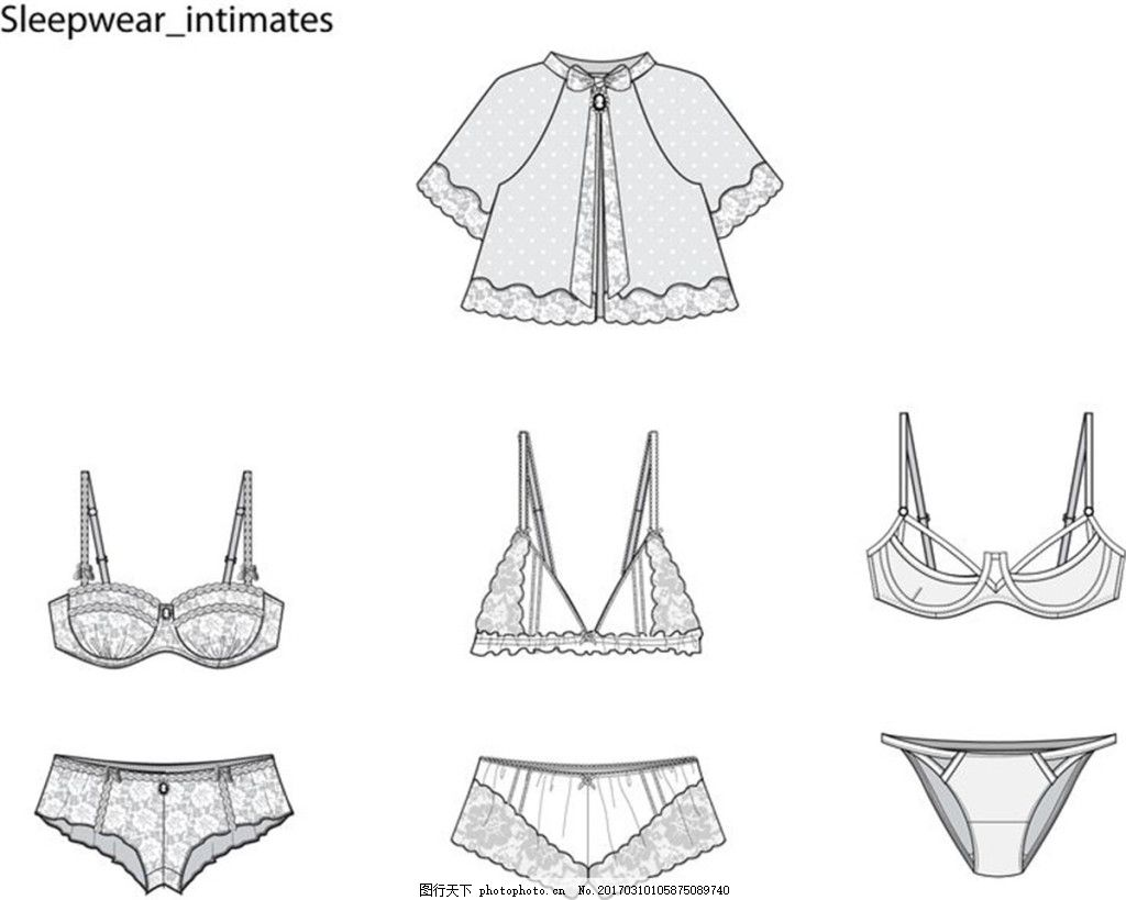 女式内衣内裤设计图 服装设计 时尚女装 职业装 女装设计效果图 jpg