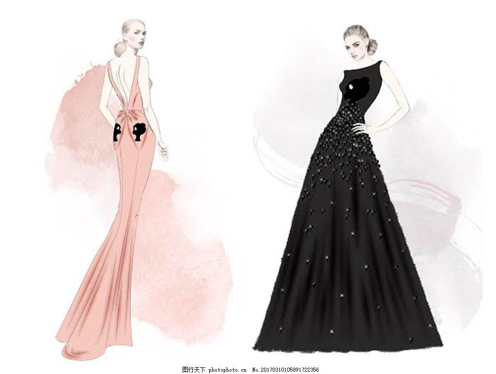 2款晚礼服设计图 服装设计 时尚女装 职业女装 职业装 女装设计效果图