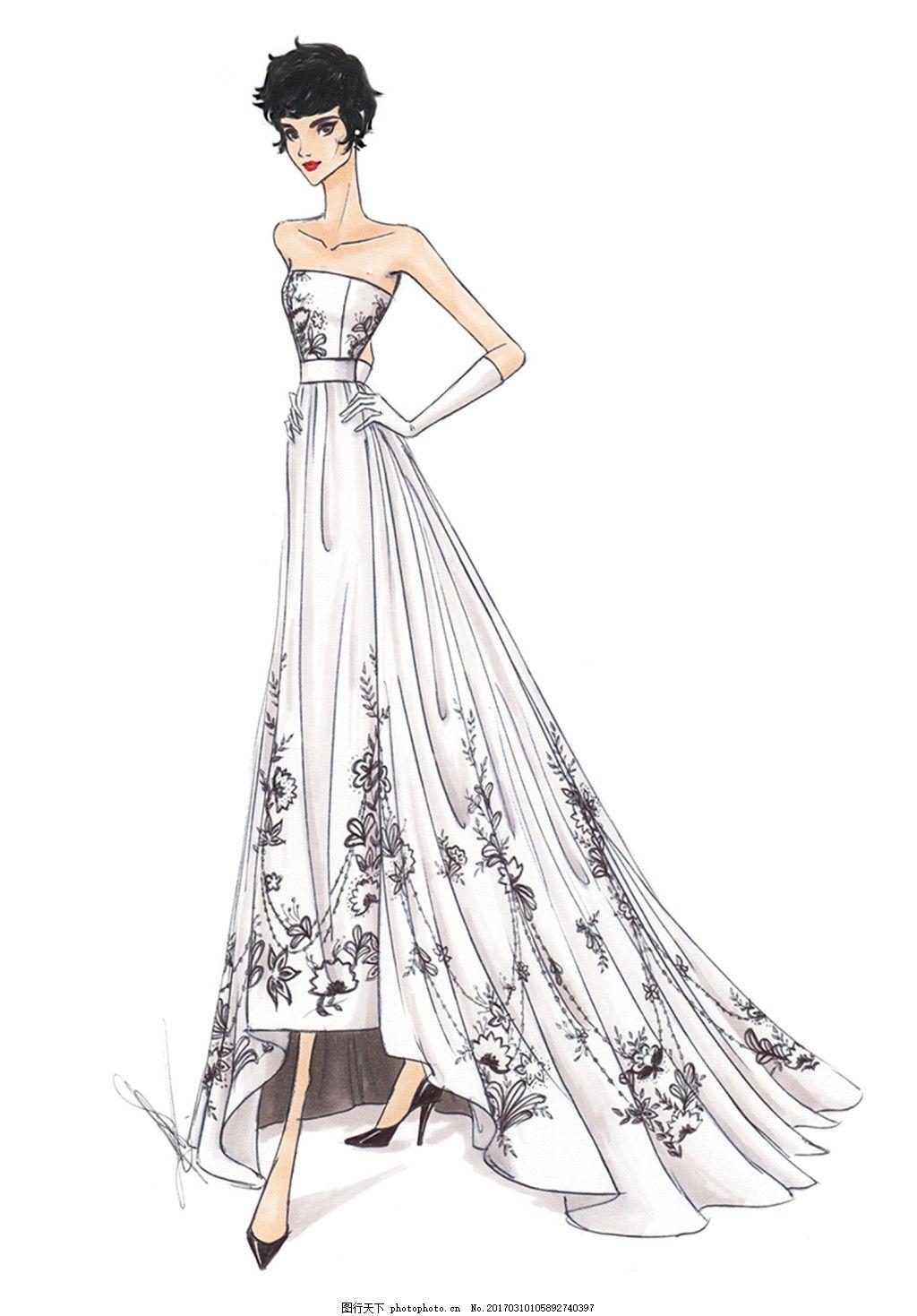 设计图库 现代科技 服装设计  抹胸礼服设计图 服装设计 时尚女装