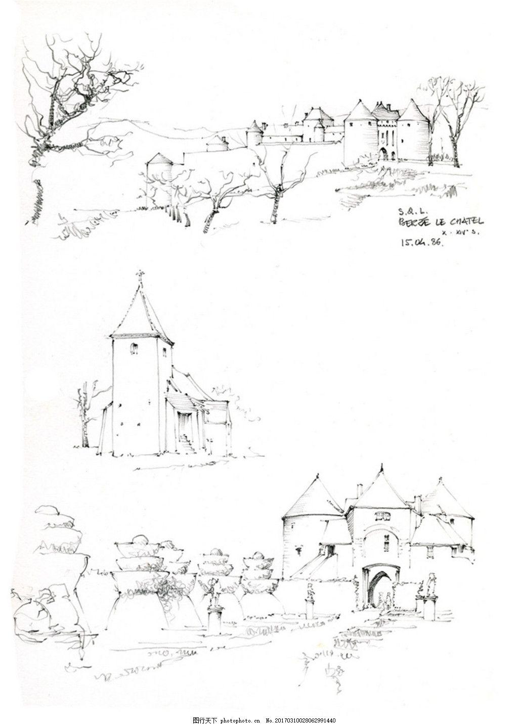 建筑设计  欧式房子建筑效果图 建筑平面图素材免费下载 手绘图 图纸