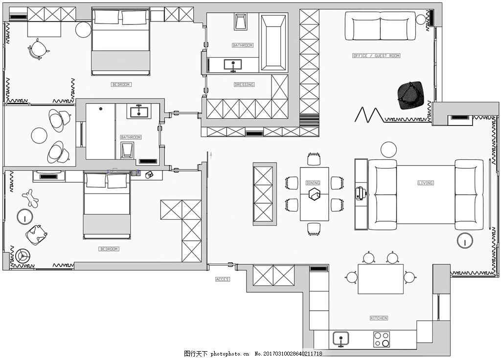 现代家居装修平面图 室内设计 家装效果图 欧式装修效果图 时尚 奢华