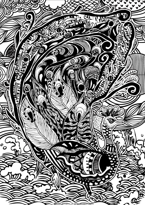 神奇动物 黑白 装饰画 插画 动物 孔雀
