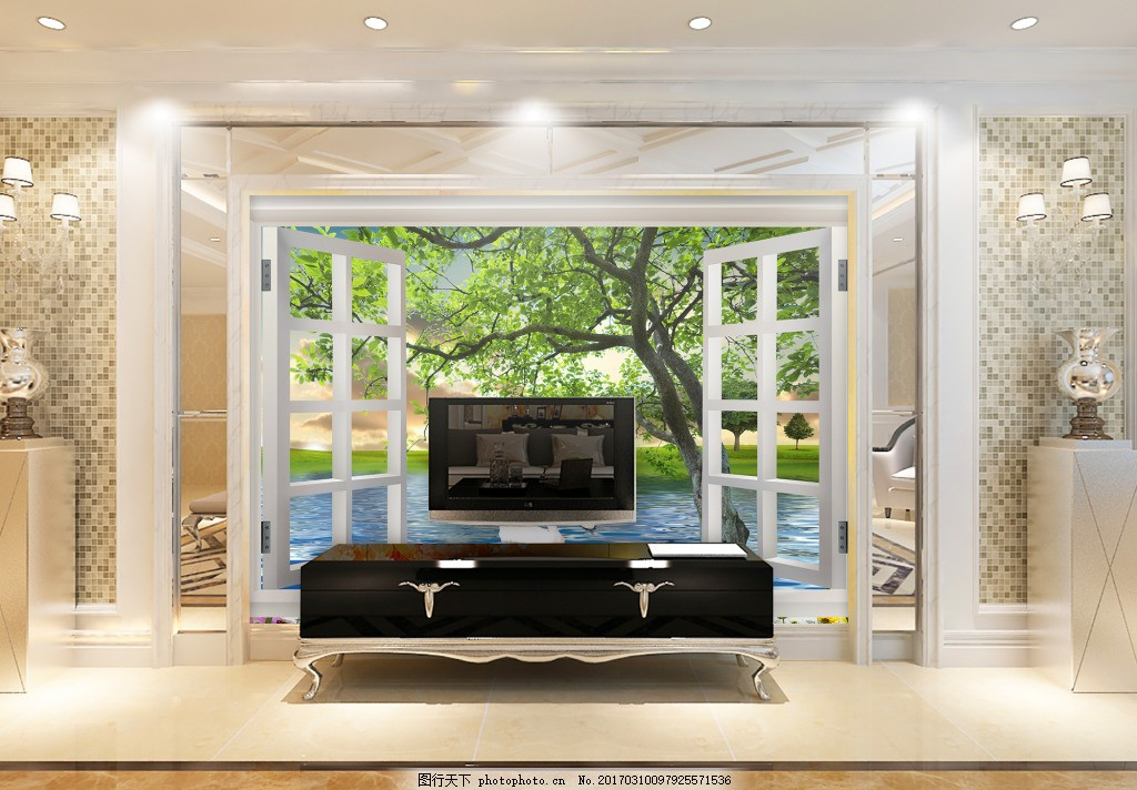 窗户树枝背景墙 装饰背景 壁纸 风景 高分辨率图片 高清大图 建筑