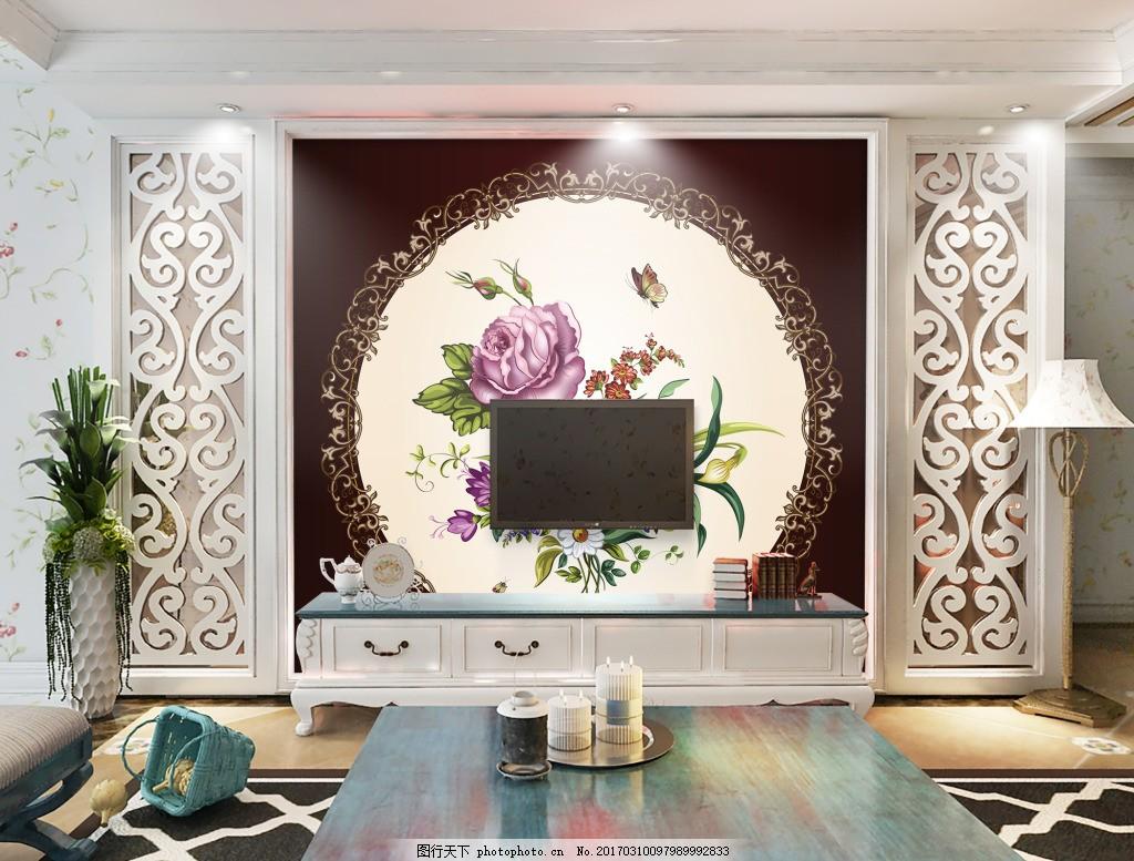 花卉圆形背景墙 壁纸 风景 高分辨率图片 高清大图 建筑 装饰