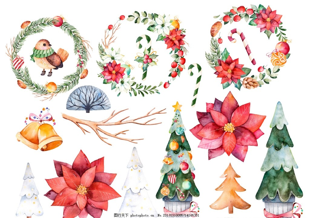 水彩 水粉 手绘 插画 插图 图画 儿童 绘画 过节 喜庆 节日 花卉 花朵