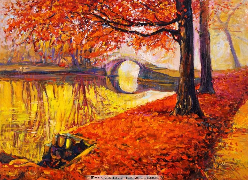 风景油画 树木 树叶 河流 河水 画画 文化艺术 绘画书法