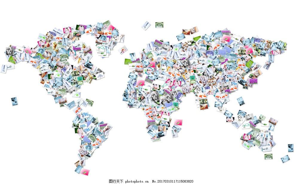创意相片地图 创意相片地图图片素材 世界地图 地图背景