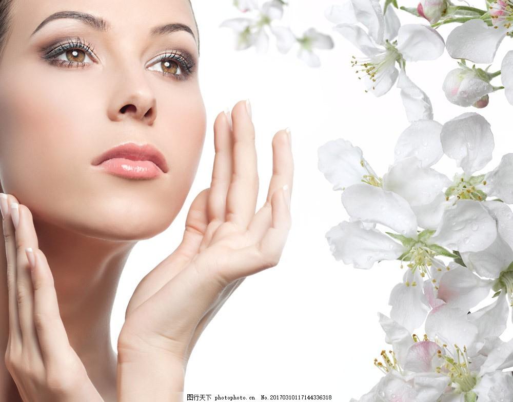 美容模特美女与鲜花 美容模特美女与鲜花图片素材 美容护肤 梨花