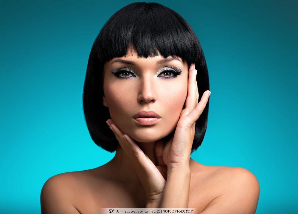 短发美容模特图片