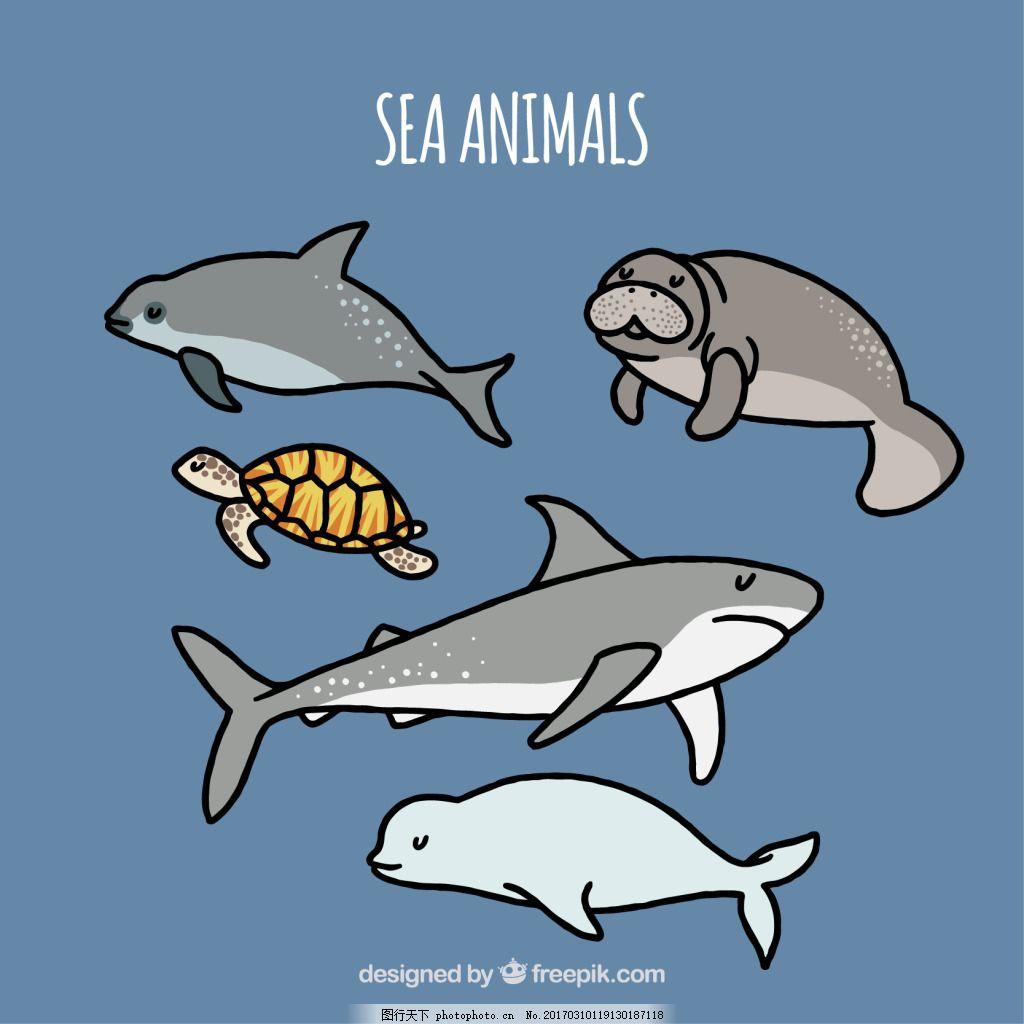一组海洋生物动物 可爱 卡通 卡哇伊 矢量素材 小动物 创意设计