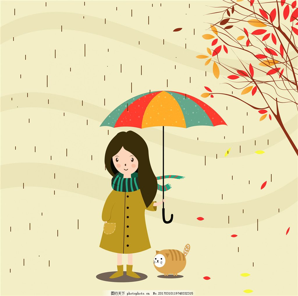 可爱手绘雨季插画 雨季 手绘插画 可爱 女孩 下雨 叶子 伞 矢量素材
