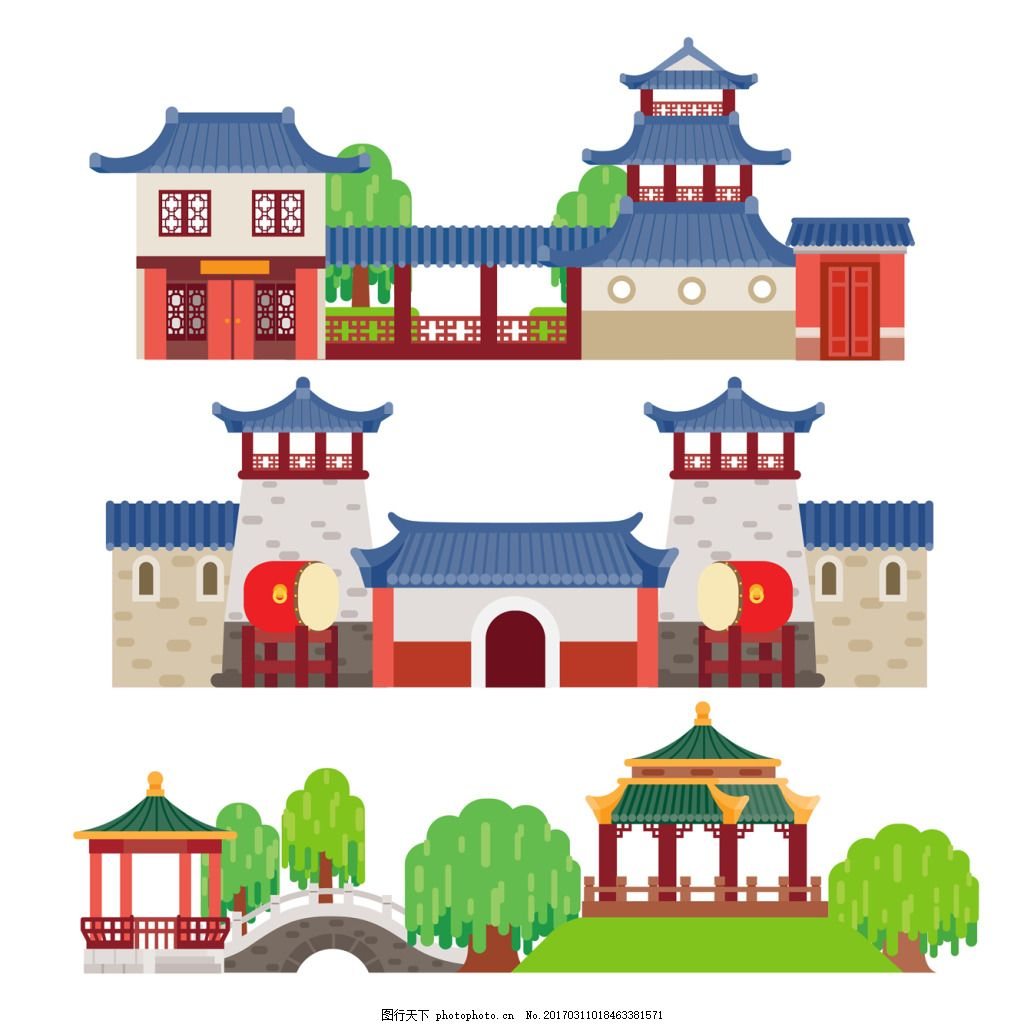 中国园林建筑 风景 插画 亭子
