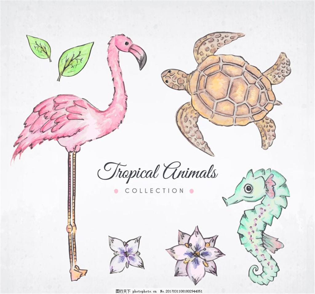 海马海龟火烈鸟热带动物矢量素材 叶子 花卉 植物 彩绘 矢量图