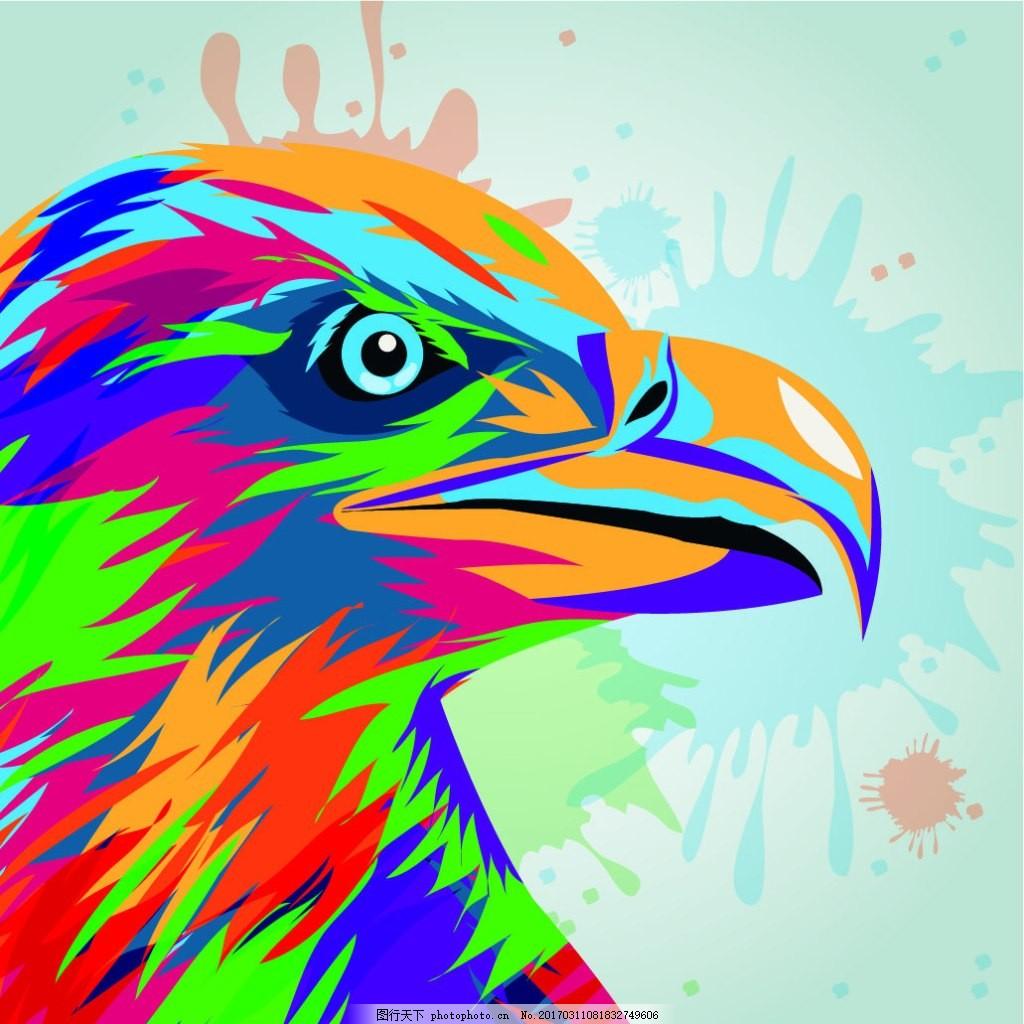 手绘水彩老鹰动物插画矢量素材下载