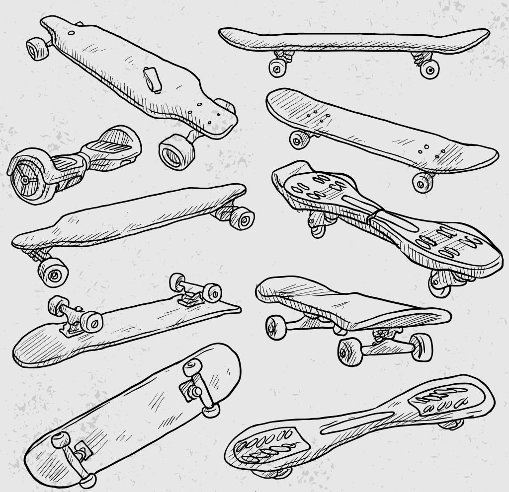 手绘滑板 运动