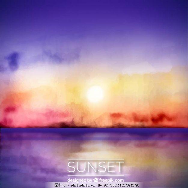 在日落,水彩 背景 树 旅行 自然 海洋 海滩 太阳 天空 风景
