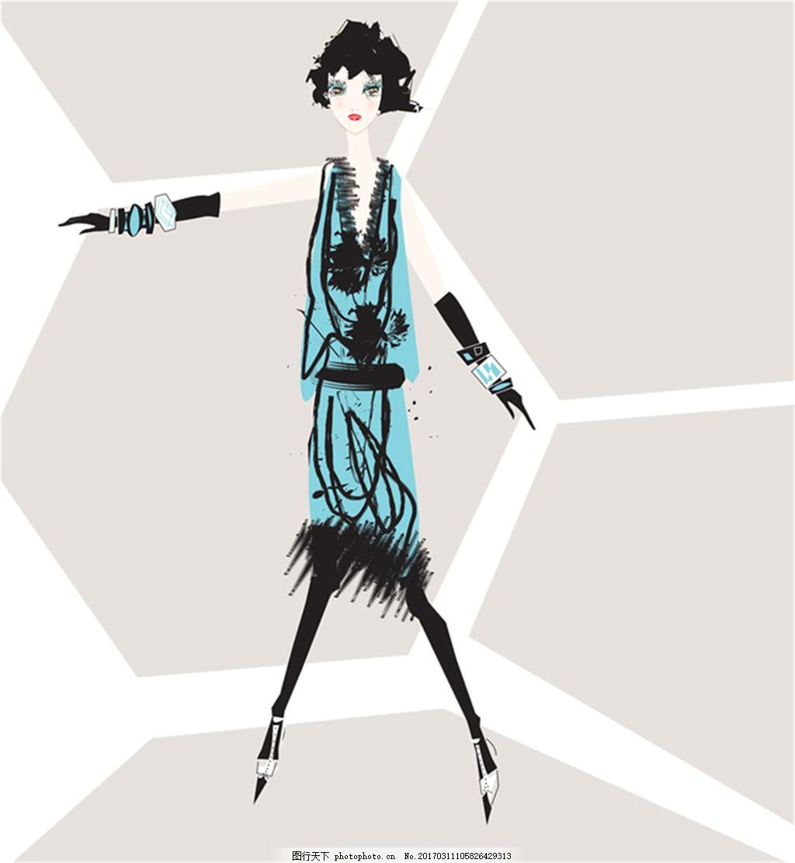 蓝色短裙套装设计图 服装设计 时尚女装 职业女装 职业装 女装设计