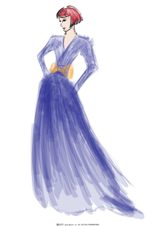 紫色长裙礼服设计图 时尚女装 职业女装 职业装 女装设计效果图