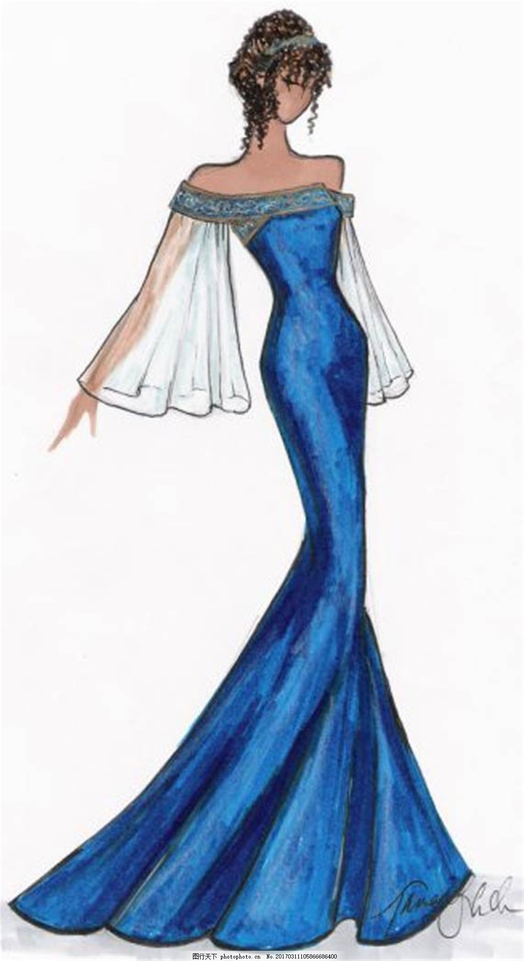 设计图库 现代科技 服装设计  蓝色长裙礼服设计图 服装设计 时尚女装
