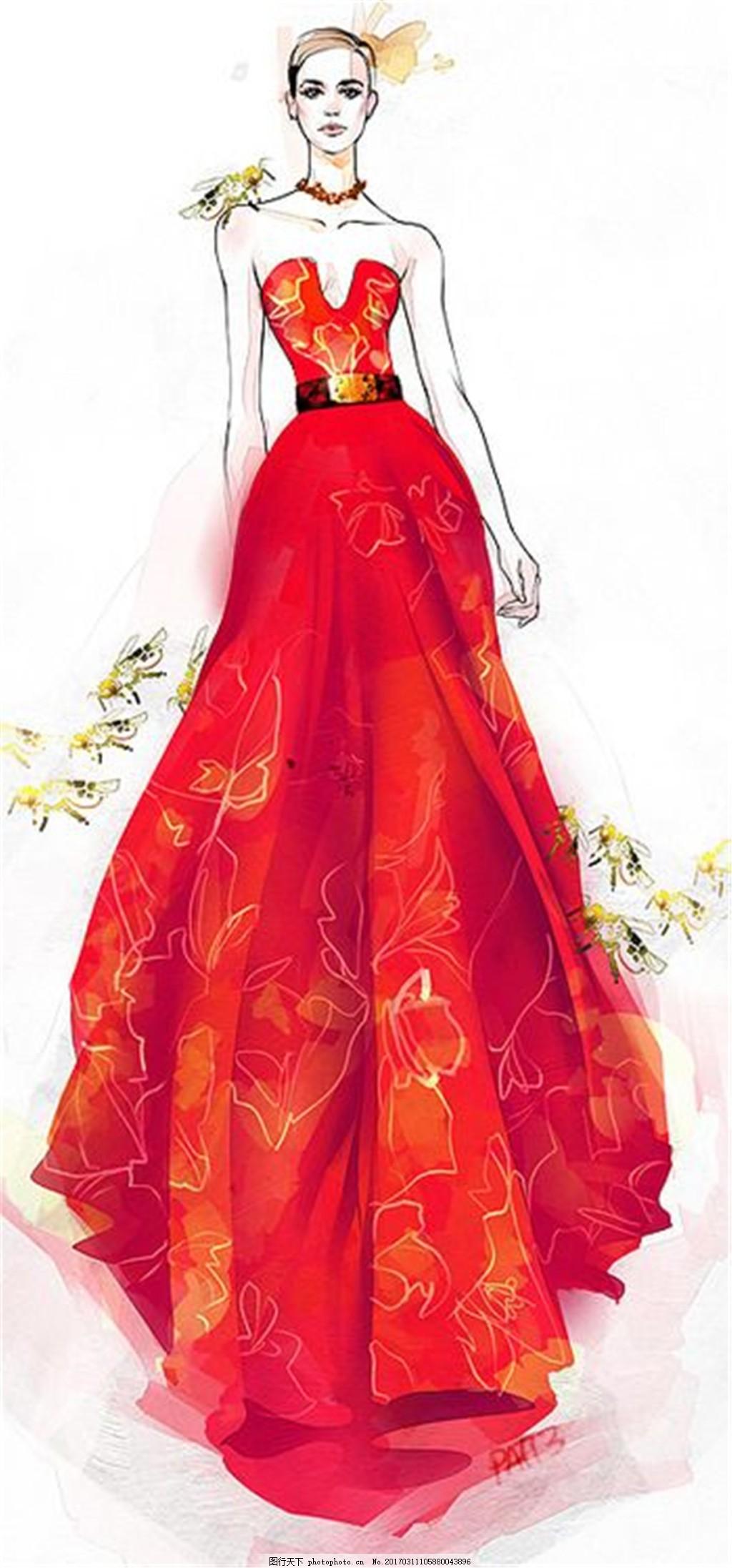 红色花纹长裙礼服设计图