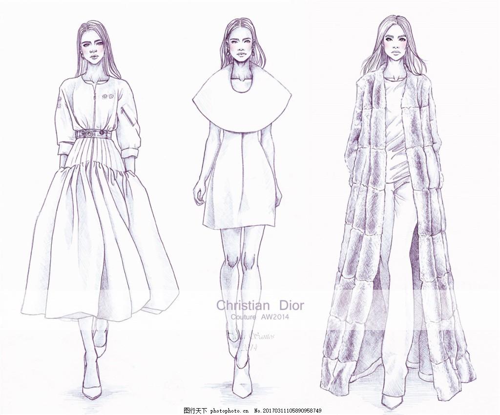 3款时尚女装设计图 服装设计 时尚女装 职业女装 职业装 女装设计效果