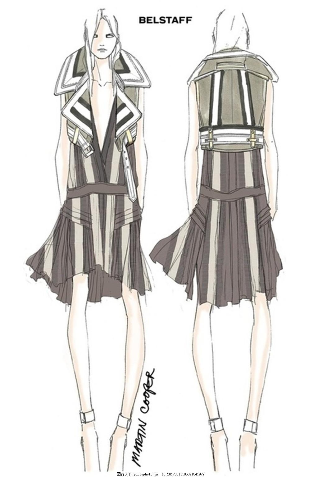 百褶裙设计图