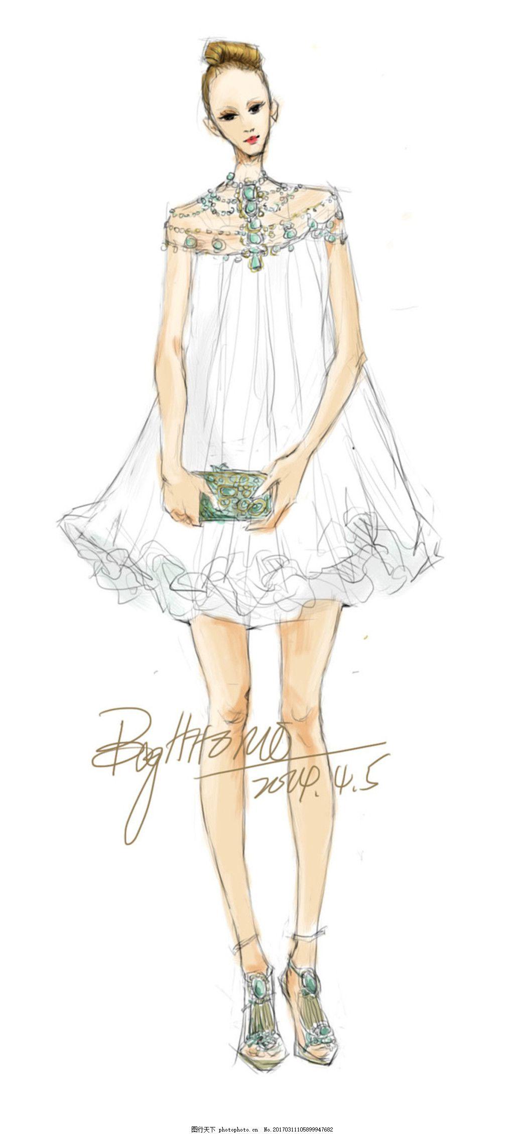 休闲连衣裙设计图 服装设计 时尚女装 职业女装 职业装 女装设计效果