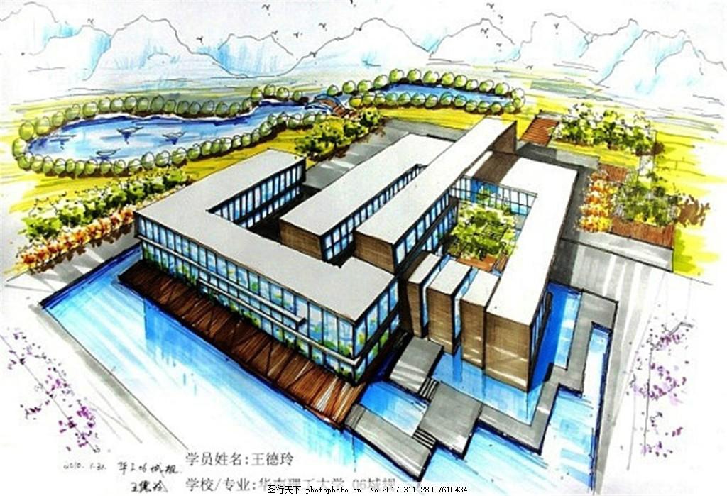 别墅建筑平面图 建筑效果图图片下载 手绘图 建筑 平面图 图纸 jpg 城