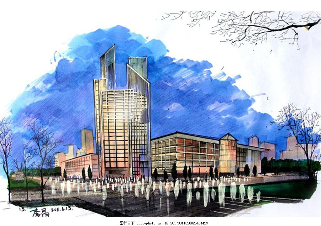 城市建筑效果图 建筑平面图素材免费下载 手绘图 建筑 平面图 图纸 jp